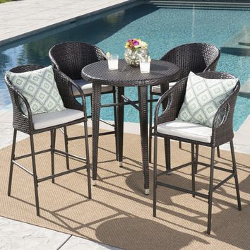 Big Rock Outdoor 5 Piece 41 Inch Wicker Bar Set with Water Resistant Cushions