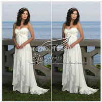 Elegant Beautiful Beach Sweetheart Chiffon Off the Shoulder Floor Length Lace Appliqued Wedding Dresses Bridal Gown