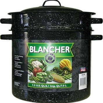 Granite-Ware® 6140 Porcelain-On-Steel Blancher with Drainer Insert, 7.3 Qt