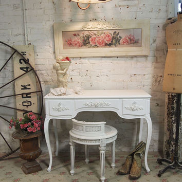 Painted Cottage Chic Shabby White Romantic Vanity VAN07