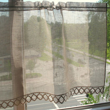 Curtain Burlap Curtains Lace Curtains Natural Gray Cafe Curtains Linen Curtains Kitchen Curtains Shabby Chic Curtains Panels