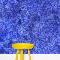 'Royal blue swirls doodles' Wallpaper by Savousepate on miPic