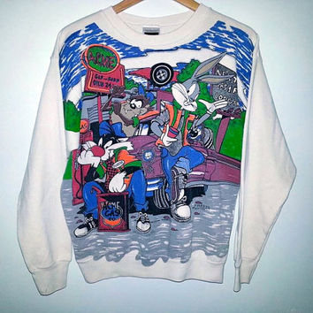 1994 Vintage LOONEY TUNES Sweater ACME Gas Station Warner Bros Sweatshirt Bugs Bunny Tasmanian Devil Taz Sylvester the Cat Size Large