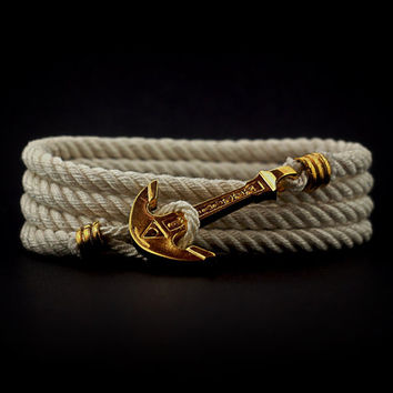 Anchor Bracelet. GOLD PLATED. Wrap Bracelet. Sea Nautical Bracelet. Marine Rope Bracelet. Mens Bracelet. Women Bracelet. Men Rope Bracelet