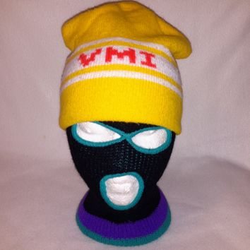 Vtg 90s VMI Beanie hat Winter cap Retro Style toque knit skullie winter Virginia Military