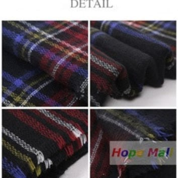 2016 New Hote  Fashion Checked Scarf Women Blanket Oversized Plaid Tartan Scarf Wrap Shawl (Color: Multicolor) [8919775175]