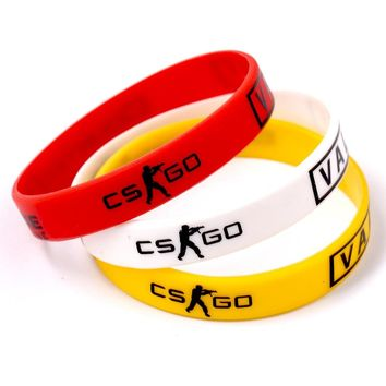 Red Yellow White Anime Games CS GO Sport Male Wristband Friendship Rubber Silicone Bracelets Men Jewelry For Women Best Friends