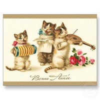Vintage Cats/Kittens playing Music Postcard from Zazzle.com