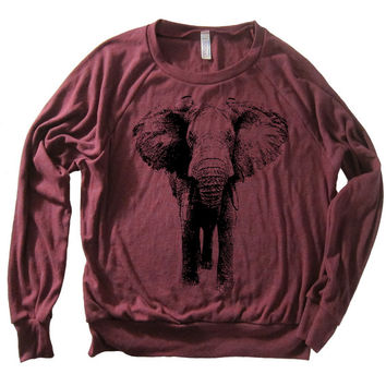 Womens ELEPHANT TriBlend Pullover Sweatshirt  by lastearth on Etsy