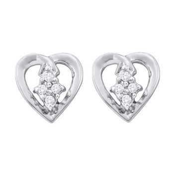 Diamond Heart Earrings in 10k White Gold 0.08 ctw