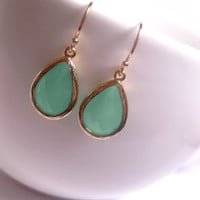 Mint Green Sea Muck Drop Earrings With 14k Gold