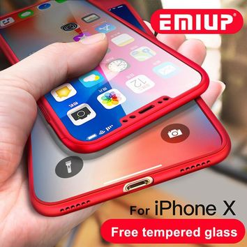 EMIUP 360 Degree Protection Case For iphone X Case Luxury Plastic Shockproof Back Cover For iphone 8 Plus Cases Coque With Glass