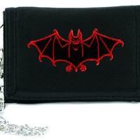 Red Vampire Halloween Bat Tri-fold Wallet w/ Chain Occult Clothing