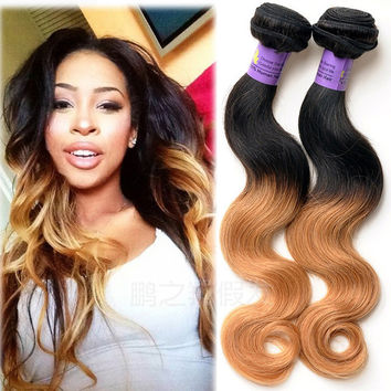 Graceful Smooth Ombre Human Weft Hair Virgin Brazilian Remy Body Wave Two Tone Color T1B/27 Hair Weaving Bundles Extension for Black Women
