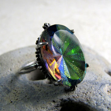 Gothic Carnival Ring - Vitrail Rainbow Vortex - Vintage Glass Ring