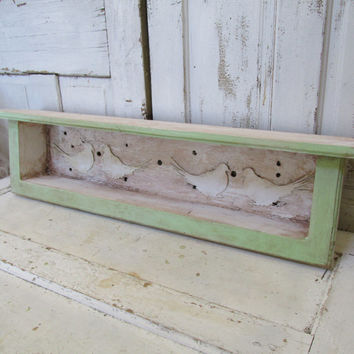 Distressed wall shelf cottage chic green cream shadow box display recycled barn wood planter anita spero