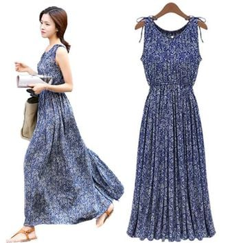 Summer Sexy Women Bohemia Long Dress Blue Sleeveless Fashion Floral Print Flowy Dress for Sexy Ladies