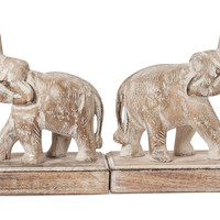 One Kings Lane - Elephants in the Room - Pair of Elephant Bookends, Whitewash