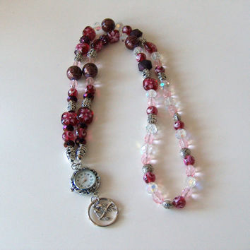 Lanyard Necklace, Watch And ID Badge Holder, Pink And Burgundy