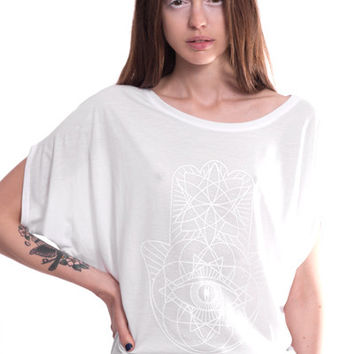 White Bat Wing Hamsa Top