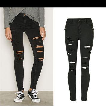 2017 American Apparel Jeans Woman Ripped Jeans For Women Black Skinny Jeans Stretch Black Pencil Jeans Denim Ninth Pants Femme