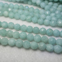 Brazilian amazonite faceted beads - light blue amazointe beads - faceted round amazonite gemstone - amazonite stone beads - -15inch