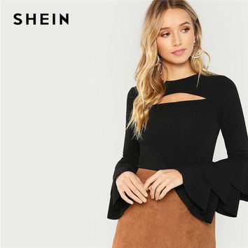 SHEIN Black Cut Front Tiered Layered Sleeve Solid Tee Sexy Long Sleeve Round Neck T-shirt Women Autumn Plain Stretchy Tops