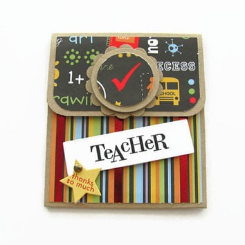 Teacher Appreciation Gift Card Holder, Thank You Teacher, Gift Cards