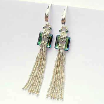 Geometric Gemstones: Swarovski Crystal Bermuda Blue Square Fringe Earrings - Sterling Silver Handmade Beaded Art Deco Earrings