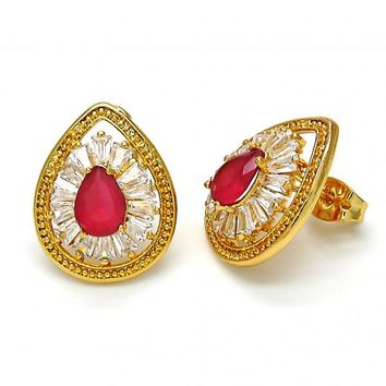 Gold Layered Stud Earring, Teardrop Design, with Cubic Zirconia, Gold Tone