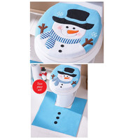 christmas decorations for home christmas gifts Snowman Toilet Seat Cover and Rug Bathroom Set enfeites de natal #1512
