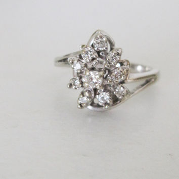 14k Estate Vintage Ring Natural Diamonds White Gold Art Deco Edwardian Georgian Antique style Ballerina Cluster Dainty Engagement Princess