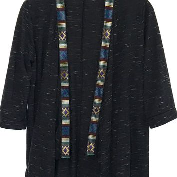 BKE Aztec Shawl Cardigan Tribal Southwestern 3/4 Sleeves Open Drape Womens XS - Preowned