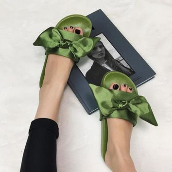 PUMA fenty rihanna silk slides sneakers-spring-Bow Slide Sandals Shoes Army green