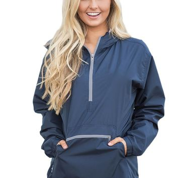 Chicloth Navy Monogrammed Pullover Rain Jacket
