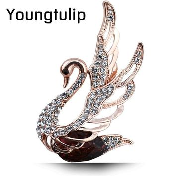 Young Tulip Crystal Swan Brooches For Women Elegant Noble Pins Rhinestone Dress Corsage Party Jewelry 3 Colors Choose