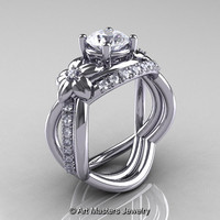 Nature Inspired 14K White Gold 1.0 Ct Cubic Zirconia and Diamond Leaf and Vine Wedding Ring Set R180S-14KWGDCZ