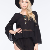 PATRONS OF PEACE Bell Sleeve Womens Woven Blouse | Blouses