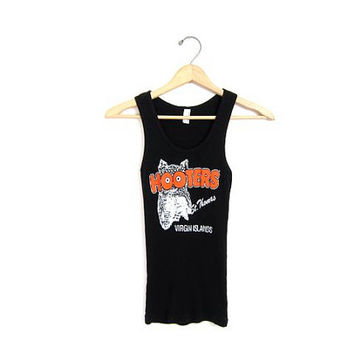 Vintage Black HOOTERS Tank Top. Grunge TShirt. Sleeveless Tee Shirt. St. Thomas Virgin Islands. Sexy Black Tank Top. Women's M