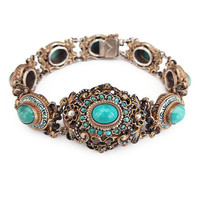 Austro Hungarian, Victorian Bracelet, Turquoise Stone, Seed Pearl, Silver Vermeil, Gold Plated, Enamel Jewelry, Antique Jewelry
