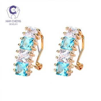 HanCheng New Fashion Charm Golden Nail CZ Cubic Zirconia Gem Stone Zircon Square Stud Earrings For Women Jewelry brincos bijoux