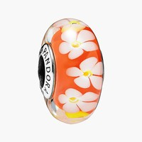 Women's PANDORA 'Tropical Flower' Murano Glass Bead Charm - Sterling Silver/ Multi