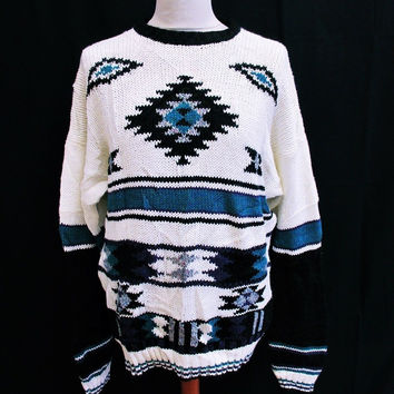 Vintage 1990s AZTEC GEOMETRIC Sweater Jumper XL Indie Crazy Pattern