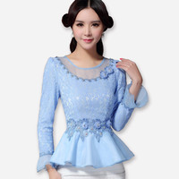 New 2016 Autumn Women lace tops Fashion long-sleeved women blouses shirt flounced chiffon lace shirt Plus size women tops