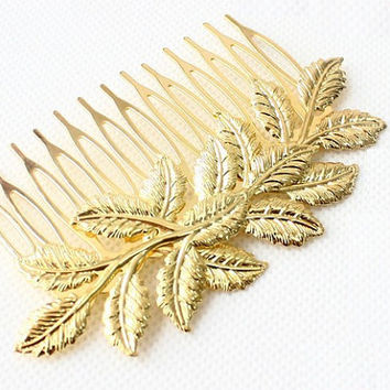 Vintage Hair Comb, Retro Hair Pin, Bride Hair Comb, Gold Leaf Hair Comb, Woodland Wedding Hair Com, Woodland Wedding Hair Grip, Gift