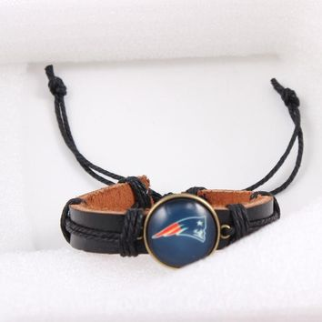 Lace-up Rope Bracelet New England Patriots Sign Charms Bracelet Football Sport Leather Bracelets & bangles 6pcs/lot