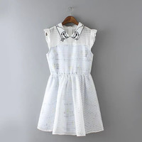 White Plaid Cat Collar Sleeveless A-Line Dress