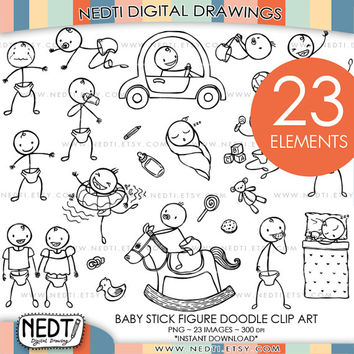 Baby Stick Figure Doodle Clip Art, Baby Clipart, Hand drawing, PNG, 300dpi, Instant Download