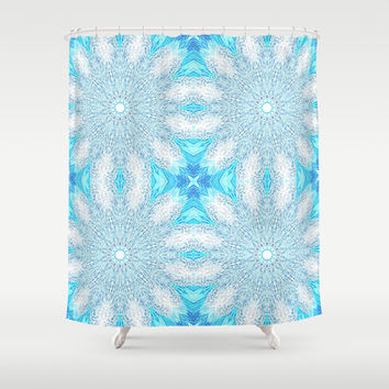Turquoise & Aqua Frozen Sunburst Flowers Shower Curtain by 2sweet4words Designs | Society6