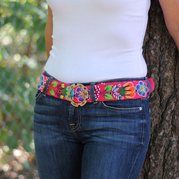 Embroidered Belt, Peruvian Belt, Pink Belt, Floral Belt